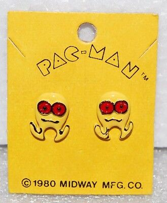 1980 PAC-MAN EARRINGS by Bally Midway Original MOC vintage - Yellow Creature ?