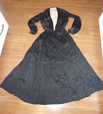 Antique Mourning 2 Piece Dress and Bodice Black with Dots