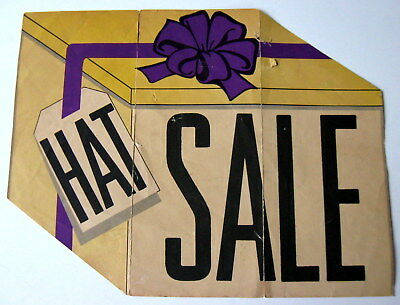 "VTG ""HAT SALE"" SIGN Yellow Hat Box Purple Bow Retail Accessories Merchandising"