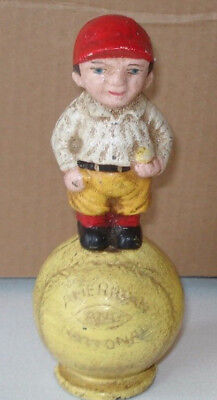 Cast Iron Baseball Player Bank Slotted Screw 6'' Tall Red Hat American National