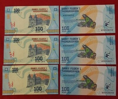6 paper Money lot from Madagascar, 100 Ariary, 2017 P-New UNC