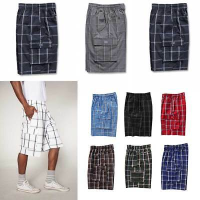 Shaka Wear Men's Checkered Relaxed Fit Plaid Cargo Shorts Loose Fitting S ~ 5XL