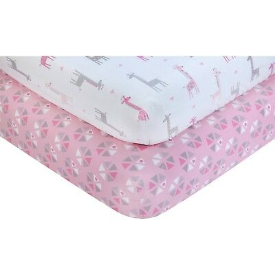 Little Love: Giraffe Time Pink 2 Pk Fitted Crib Sheet Set by NoJo