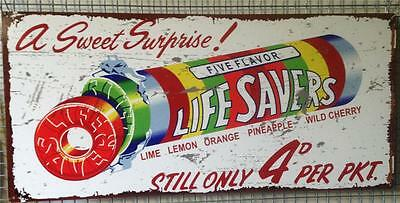 Lifesavers  Vintage Look Metal Sign 80 cmx 38 cm  Free Postage
