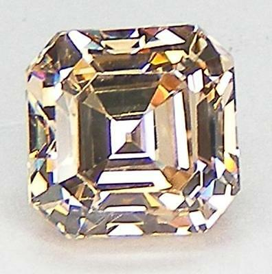 EXCELLENT CUT ASSCHER 7x7 MM. LIGHT CHAMPAGNE RUSSIAN CUBIC ZIRCONIA CZ