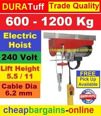 Electric Hoist 1200Kg 240V Remote Control Winch Lifting Cable Beam Gantry Crane