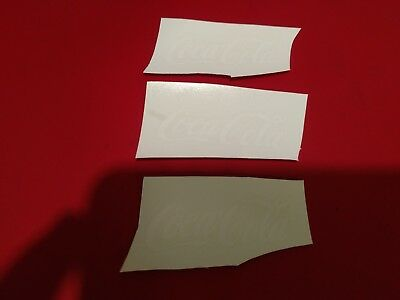 """3 Small White Coca Cola  water slide Decals 2 1/4"""" x  3/4"""" NOS"""
