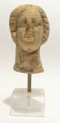 Tete Grecque 400 Av Jc - Ancient Greek Terracotta Head 400 Bc