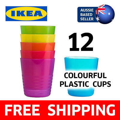 [12 PACK] Ikea 230mL Colour Plastic Cups | Kids Party Picnic Children, BPA Free