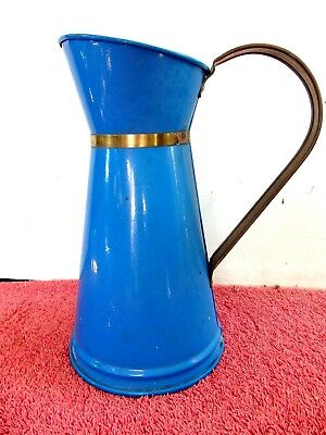 BLUE  TIN  PITCHER/JUG  WITH COPPER  HANDLE  AND  NECK BAND  22cm.