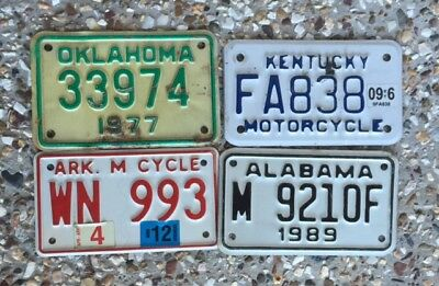 4 Motor Cycle Number Plates From Different American States