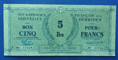 New Hebrides 5 Francs 1943 (ND). Choice VF. French France territory. Rare