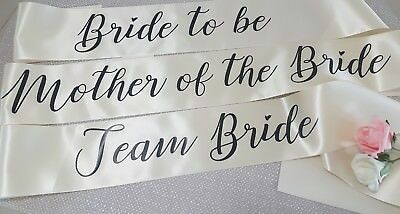 BRIDE TO BE PERSONALISED Luxury Hen Party Night Do Sash MOTHER OF THE BRIDE,