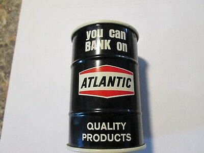 HTF Atlantic Motor Oil Gas Drum Can Coin Tin Bank Excellent Condition