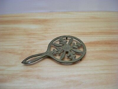 Old Fancy Round Brass Trivet Snowflake Estate Find Kitchenware Cast Brass Small