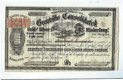 Stock  Grenville Consolidated Gold Silver Mining Co  San Fancisco CA  1864