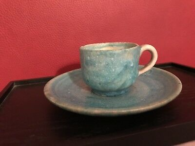 Guido Gambone cup with plate donkey signed