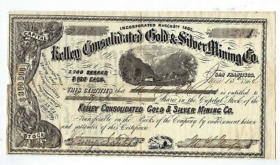 Stock Kelley Consolidated Gold Silver Mining Co OR N T San Francisco 1864