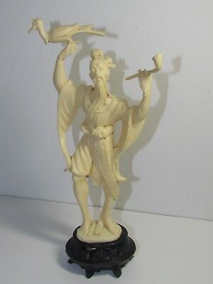 Vintage Plastic Statue of Oriental Man Holding Bird & Pipe Italy by Depose