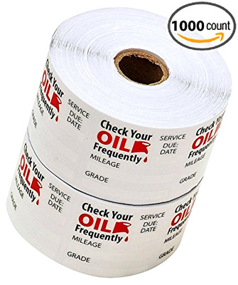 """Oil Change Stickers Static Cling Writable Surface 1.75"""" x 1.75"""" 1000 Counts"""