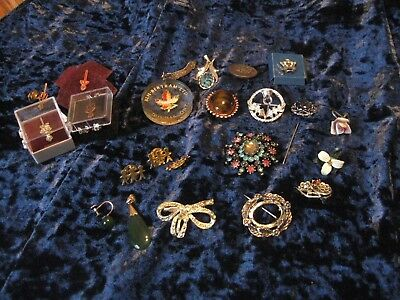 LOT OF 20 Pieces Vintage Pins Charms Earrings Brooch Rhinestones Costume Jewelry