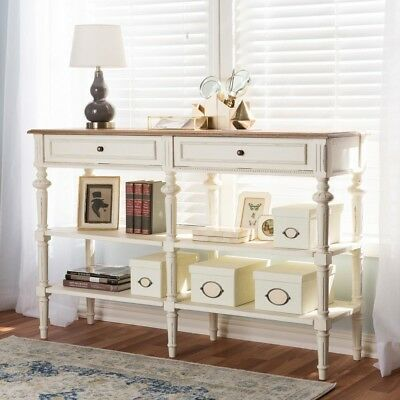 Marquetterie French Provincial White Finished Wood Console Table