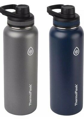 Takeya ThermoFlask 24oz Double Wall Vacuum Insulated 2 Pack - Gray & Navy Blue