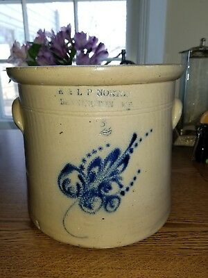 Antique Primitive Stoneware Norton Bennington Vermont Crock