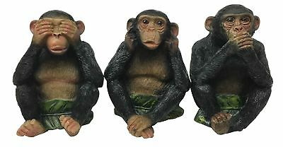 See Hear Speak No Evil Monkeys Three Wise Apes Of The Jungle Figurine Set of 3