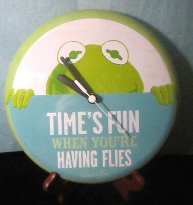 "Hallmark Disney Muppets Kermit Wall Clock Painted Tin 8"" across"