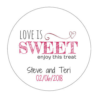 "105 Personalised ""Love is Sweet"" Wedding Stickers/Labels"