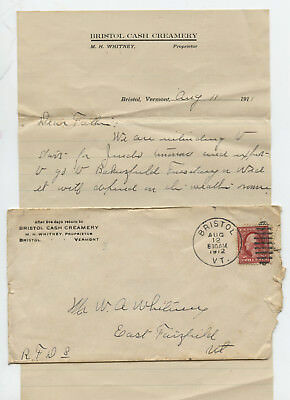 1912 Advertising Cover With Letterhead Bristol Cash Creamery Vt Vermont Dairy