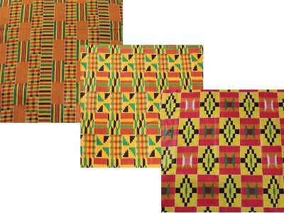 """Kente Cloth African Print Fabric 44"""" Wide Sold By The Yard"""