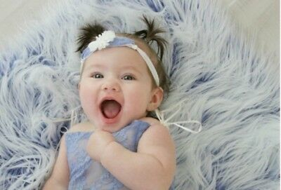 """Faux Fur Frosted blue 2 tone photo props 20""""x20"""" Newborn photography's."""