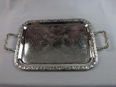 Chromium Or Silver Plated? Handled Tray Floral Etched And Embossed