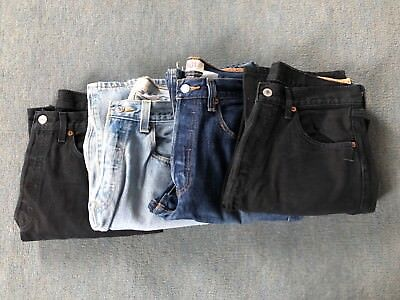 Job lot of 4 used Levi 501 jeans. 32 inch waist and alterered to 29 inch leg.
