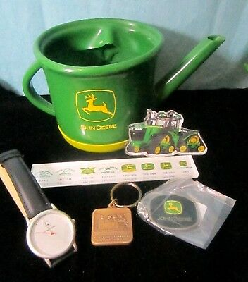 Mixed Lot John Deere Collectibles WAtch Keychains Magnets Planter Cover
