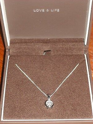 ERNEST JONES 9ct white gold 0.15ct real diamond pendant necklace in box, perfect