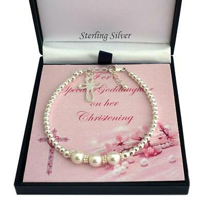 Girls Christening Bracelet with Cross Charm, Sterling Silver & White Pearls