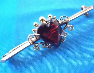 Rare Antique Victorian 1800,s   9K yellow  Gold  H&N marked  Garnet stone  Pin,