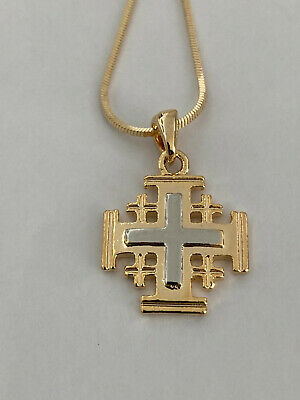 Jerusalem Cross Necklace Two Tones - SHIPPING FROM USA