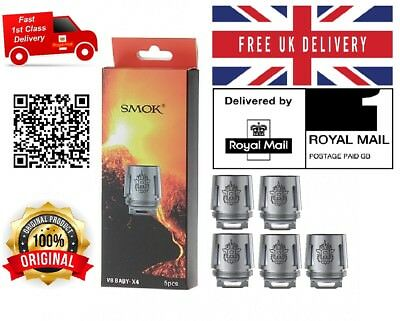 Genuine 5 Smok Tfv8 V8 X4 Big & Baby Beast Tank Replacement Coils 0.15 Ohm - Uk