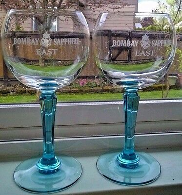 "Set of 2 STUNNING 7 3/4"" BOMBAY SAPPHIRE Ultimate Gin & Tonic BALLOON Glass MINT"