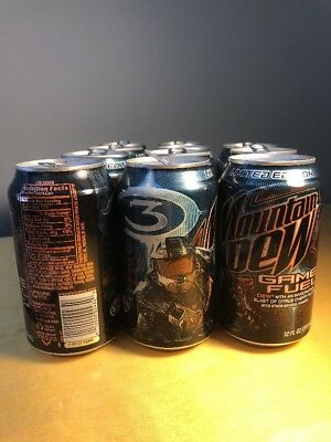 Qty 11 Mountain Dew Empty Pop Cans - Game Fuel Halo 3