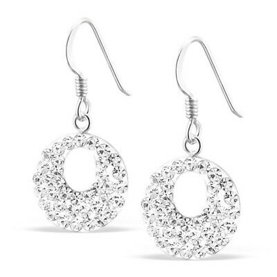 925 Sterling Silver clear white sparkly round drop hook earrings UK jewellery
