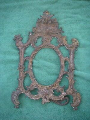 Antique Cast Bronze Brass Stand Up Picture Frame Ornate Victorian.Beautiful