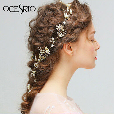 Ocesrio Bridesmaids Wedding Hairband Crown Rose Gold Pearl Leaf Bridal Hairpins1