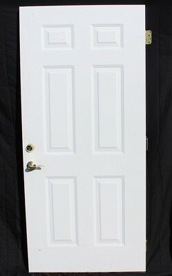 Used Condition Steel White Outside 6 Panel Door with Brass Hardware Installed