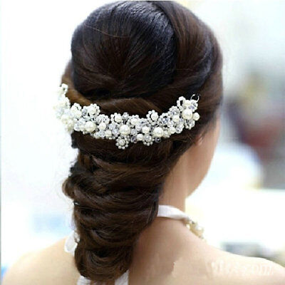 New Korean Hair White Pearl Crystal Bride Headdress By Hand Wedding Dress Access