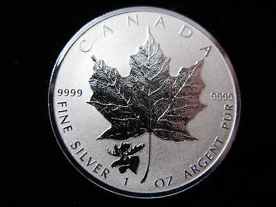 2017 1 oz Moose Privy Canadian Silver Maple Leaf Reverse Proof Coin .9999 Pure